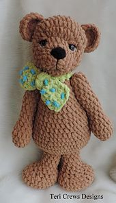 This big huggable fellow makes the perfect friend and works up quickly with super bulky Bernat Baby Blanket yarn. You will need a size I crochet hook and a size G for your bear's nose. Finished bear is approx. 20 and 1/2 inches tall, not counting ears. The perfect size for hugs.