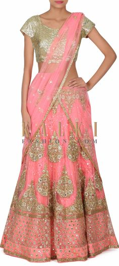 Buy this Pink lehenga adorn in zari and mirror only on Kalki