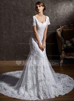15db2aa3fb  € Corte trompeta sirena Escote corazón Tren de la catedral Tul Encaje  Vestido de novia con Bordado - JJ s House