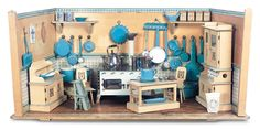German Wooden Fully-Furnished Blue Kitchen attributed to Otto Muehl