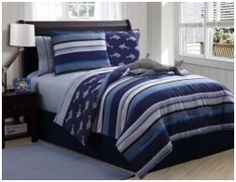 Shop for VCNY Shark Reversible Printed Patterned Twin-size Comforter Set. Get free delivery On EVERYTHING* Overstock - Your Online Kids Bedding Store! Teen Boy Bedding, Boys Bedding Sets, Shark Bedroom, Nautical Bedroom, Full Size Comforter Sets, Blue Comforter, Bed In A Bag, Victoria, Decoration