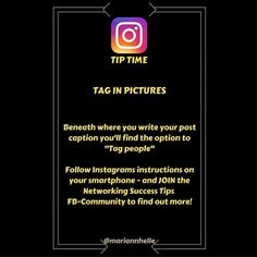 Tip time: Do you tag others in your pictures...   Why would you do it...  How you do it... And last but not least...  WHEN should you do it...  ... is discussed in the Networking Success Tips FB-community! Come and join us!   Want to learn more about building your business online? JOIN the Networking Success Tips FB-community! I would love to give you a welcoming post in there!  @mariannhelle  - LINK IN BIO! ---------------------------------- Instagram Mobile, Instagram Tips, Instagram Posts, Looking Forward To Seeing You, Looking Up, Tag People, Read More, Online Business, How To Find Out