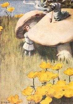 "illustraties alice in wonderland | Her eyes met those of a large blue caterpillar."" Illustrator, Bessie ..."