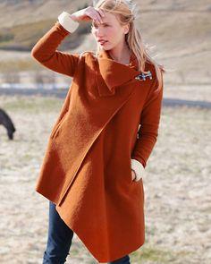 Asymmetrical Boiled Wool Coat