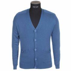 Gilet boutonné bleu cobalt en laine, livré dans son coffret