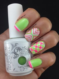 Summer Plaid Nail Art Design Using Gelish Colors Of Paradise Collection