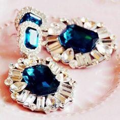 Graceful European Style Rhinestone Embellished Earrings Blue YW15032003-4.http://www.clothing-dropship.com