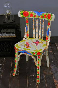 roses on a chair , painted, colors