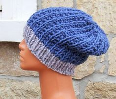 Knit slouch beanie - slouchy hat - mens slouch beanie - ladies slouch beanie - Unisex knitted chunky blue slouchy hat with grey band by WoolieBits on Etsy