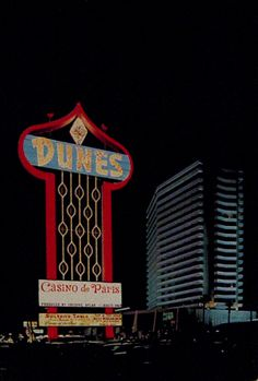 "The dunes hotel & casino, ""casino de paris"", us - las vegas Casino Hotel, Vegas Casino, Las Vegas Nevada, Casino Night, Vegas Party, Neon Moon, The Dunes, Casino Theme Parties, Casino Royale"
