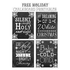 Free Christmas Songs Printable Chalkboard Art