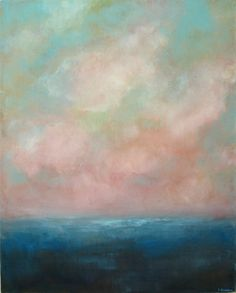 Someday Soon-  Oil Painting on Canvas 16x20 ocean sky clouds seascape blue turquoise white  original abstract palette knife painting. $140.00, via Etsy.