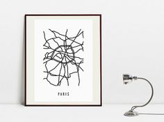 Paris Abstract Map  Original Black and White Art Print by Postery