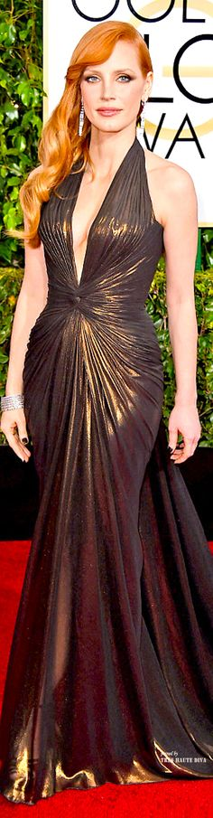 Jessica Chastain in Atelier Versace - Golden Globe Awards 2015 ♔THD♔