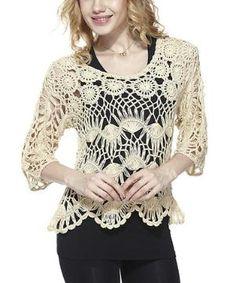 Beige Hairpin Crochet Top $22.99 by Zulily