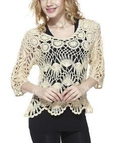 Beige Hairpin Crochet Top $22.99 by Zulily