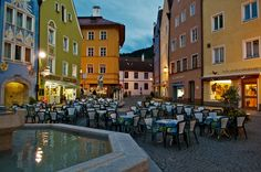 Eating outside on Reichenstrasse in Fussen, Germany.
