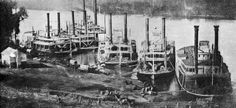 Federal riverboats at Pittsburg Landing on the Tennessee River.  (Shiloh National Military Park)