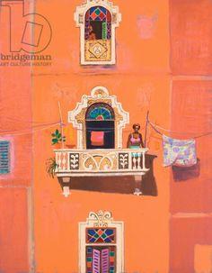 Leon Morrocco - Three Apartment Windows (oil on canvas) History Images, Art History, Art Furniture, Oil On Canvas, Windows, Doors, Balconies, Cityscapes, Havana