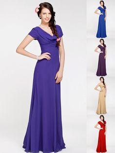 Floor-length Georgette Bridesmaid Dress - Regency / Royal Blue / Ruby / Champagne / Grape Plus Sizes / Petite Sheath/Column Cowl - USD $69.99