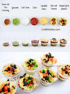 7 LAYER DIP Cups {{individual}} - CINCO DE MAYO party food idea