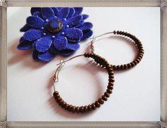 Hoop earrings silver plated brown beadsgift
