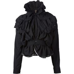 Comme Des Garçons Vintage Raw Ruffled Jacket ($1,311) ❤ liked on Polyvore featuring outerwear, jackets, tops, black, collar jacket, black collared jacket, long sleeve jacket, vintage jacket and black jacket