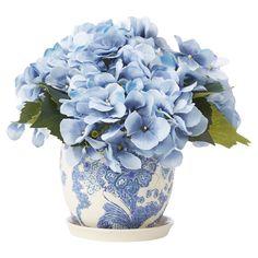 Faux Blue Hydrangea in Pot - Winter Hues: Blues & Brass on Joss & Main