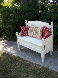 Reserve for Nancy Bench Hand Made Porch Furniture Pottery Barn Style French Country Shabby Chic Painted Distressed Treasury Item .and you can always find headboards at the Habitat ReStore! Distressed Furniture, Refurbished Furniture, Repurposed Furniture, Furniture Makeover, Handmade Furniture, Porch Furniture, Furniture Projects, Painted Furniture, Design Furniture