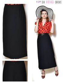 black maxi skirt high waisted women clothing 90s clothing minimalist gift for her sexy wool skirt pencil skirt office clothes XL by SixVintageChicks on Etsy
