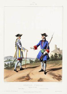 1724. Louis XV. Infanterie Étrangère; Régiment de Linck; Tambour-Major; Lieutenant de Grenadiers