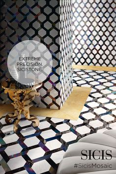 SICIS presents the iconic collection SiciStone. Thanks to the cutting-edge technology water-cut, Sicis mosaic masters could design on the marble with an extreme precision creating beautiful composition