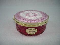 MURANO Venetian Venezia Art Glass Millefiori Cranberry Trinket Box w Orig.Label in Pottery & Glass, Glass, Art Glass, Italian | eBay