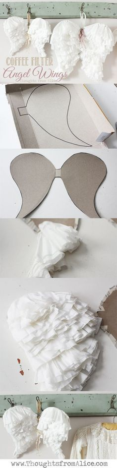 30 Incredibly Awesome Yet Easy DIY Halloween Costumes For Kids Need a clever, inexpensive and quick costume? Get creative, get inspired with these 50 incredibly awesome yet easy DIY Halloween costumes for kids in Diy Angel Wings, Diy Wings, Kids Crafts, Holiday Crafts, Christmas Crafts, Spring Crafts, Coffee Filter Crafts, Coffee Filters, Manualidades Halloween