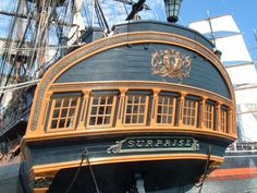 stern of the HMS Surprise.  A sister ship to the HMS Pinafore - except, of course, the Surprise was a lot more on the ball...