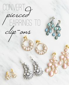 How to make clip on earrings from pierced earrings. So inexpensive and easy.