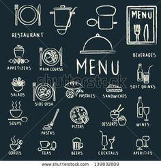 Chalkboard Restaurant Menu Elements Vector Art   Food