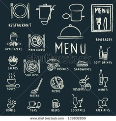 Restaurant menu design elements with chalk drawn food and drink icons on blackboard by Aleksandra Novakovic, via ShutterStock