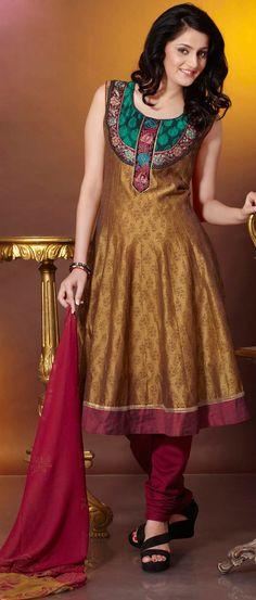 Dark Olive #Green Readymade #Chanderi #Churidar Kameez @ $67.31 | Shop @ http://www.utsavfashion.com/store/sarees-large.aspx?icode=kgf3574