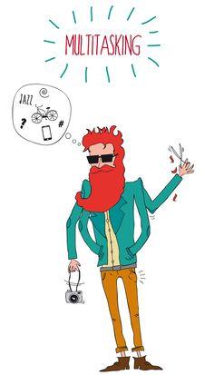 Hipster, multitasking, graphic design, illustration