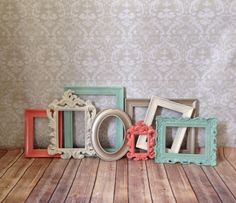 Shabby Chic PHOTO FRAMES mint and coral wedding nursery Love these vintage style and detailed rectangular frames. Richly coated in a coral, mint, cream, and light gold paint! Distressed edges for a shabby chic look!