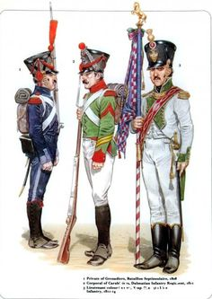 Napoleon's Italian Troops 1_Private of Grenadiers Bataillon Septinsulaire 1808; 2 Corporal of Carabiniers Dalmatian Infantry Regiment 1811