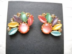 Brooches Vintage Pastel Moonglow Glass Stones Cabochons