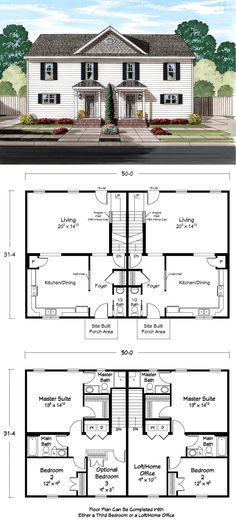 ideas about Duplex Plans on Pinterest   Duplex House Plans    Great Duplex Floor Plan   Miss Molly    s You can live and one half and rent the