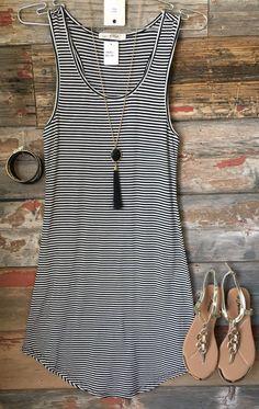 Let's Have Some Fun Striped Tank Dress: Black