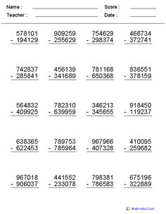 4, 5, or 6 Digits Subtraction Worksheets