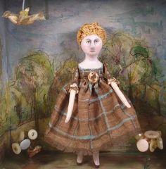 Irene's Garden  original handmade  folk art doll by SusanHopkirk, $65.00
