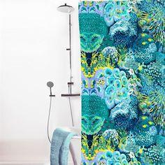 Meriakvaario duschdraperi - turkos - Vallila Interior Garden Cafe, Curtains, Shower, Bathroom, Prints, Fabrics, Design, Rain Shower Heads, Washroom