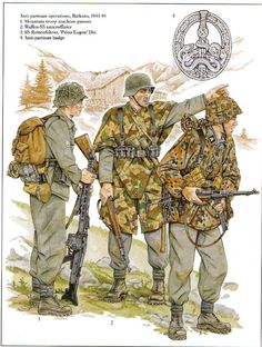 """Truppe  Antipartigiane nei Balcani - 1 Gebirgsjaeger MG 40 - 2 Waffen SS Unteroffizier - 3 SS-Rottenfuehrer Waffen SS Div, """"Prinz Eugen"""" - 4 Antipartisan Badge"""