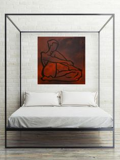 Minimalistic acrylic painting of a woman body. Tribal, linear portrait brings authentic, private sense of home. Art in interior design: bedroom decor
